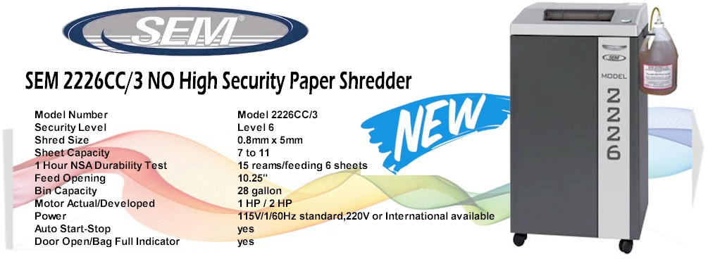 SEM 2226CC/3 NO High Security Paper Shredder