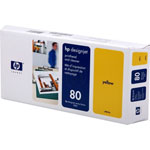 HP C4823A No.80 Yellow Printhead and Printhead Cleaner (800 Pages)