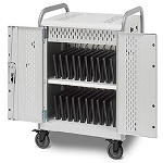 Bretford MDMLAP30BP-90D Pulse L Charging Cart for 30 Devices, w/Back Panel, w/90º outlets