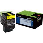 Lexmark 80C1HY0 Yellow Toner Cartridge (3k Pages)